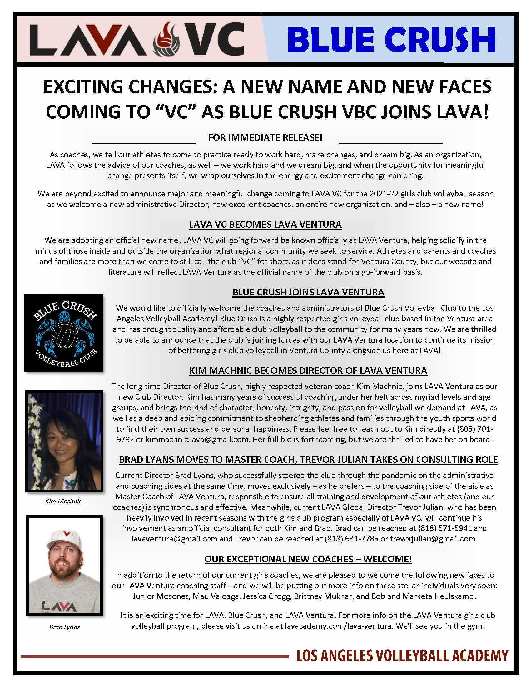 Press Release - Lava Ventura Blue Crush - June 2021