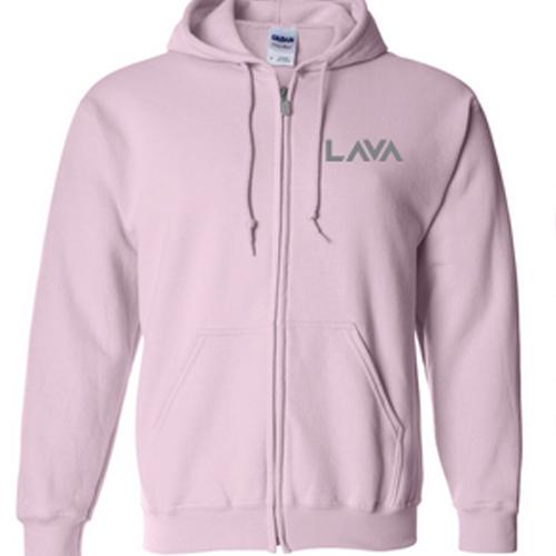Merch - Full Zip Hoodie Pink - Lava Logo White